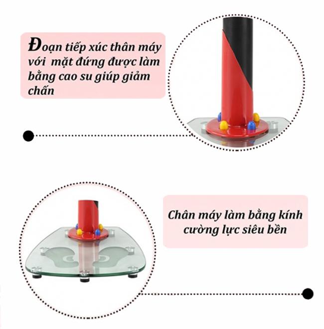 Máy rung massage MHQ 300S chuyền dùng đánh mỡ bụng Thông tin chi tiết sản phẩm máy rung massage MHQ 300S Xuất xứ: Trung Quốc Màu sắc: Đỏ đen Chế độ rung: 20 mức Đai rung gồm 2 dây và 2 dây dự phòng Màn hình LED hiển thị: thơi gian, tốc độ rung, calo tiêu hao Ống thép Công suất máy tập: 100W. Điện áp sử dụng: 220V – 50Hz. Trọng lượng máy massage: 18.5 kg. Trọng lượng đóng thùng: 20.5 kg. Trọng lượng người tập tối đa: 100 kg. Kích thước đóng thùng: 97.5 x 49 x 27 cm. Kích thước lắp đặt: 69 x 43 x 110 cm. Bảo hành: 12 tháng Hình ảnh mô tả chi tiết máy rung massage MHQ 300S
